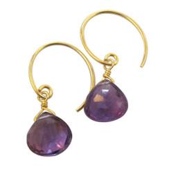 Stunning Vermeil Gemstone Drop on Open Circle Hook Earrings, Amethyst