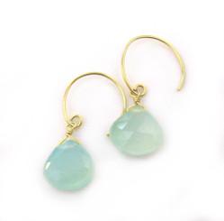 Stunning Vermeil Gemstone Drop on Open Circle Hook Earrings, Blue Chalcedony