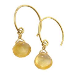 Stunning Vermeil Gemstone Drop on Open Circle Hook Earrings, Citrine