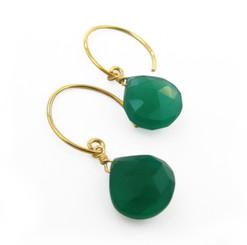 Stunning Vermeil Gemstone Drop on Open Circle Hook Earrings, Green Onyx