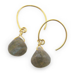 Stunning Vermeil Gemstone Drop on Open Circle Hook Earrings, Labradorite