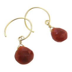Stunning Vermeil Gemstone Drop on Open Circle Hook Earrings, Red Chalcedony