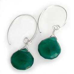 Stunning Gemstone Drop on Open Circle Hook Earrings, Green Chalcedony
