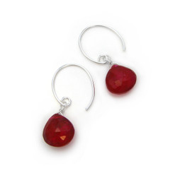 Stunning Gemstone Drop on Open Circle Hook Earrings, Red Chalcedony