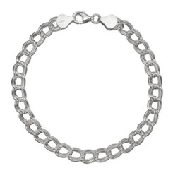 Sterling Silver Double Link Chain Charm Bracelet, 7 Inch