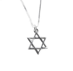 Sterling Silver Dainty Star of David Charm Necklace
