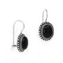 """Sterling Silver """"Amelie"""" Stone Earrings, Onyx"""