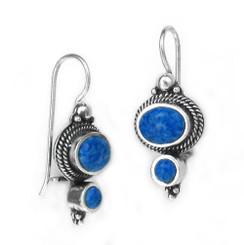 """Sterling Silver """"Agnes"""" Stone Earrings, Denim Lapis"""