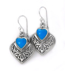 Sterling Silver and Heart Stone Earrings, Turquoise