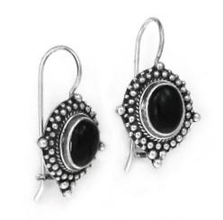 Sterling Silver La Boheme Stone Earrings, Onyx