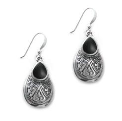 """Sterling Silver Teardrop Stone Scrolls """"Sofie Anne"""" Earrings, Onyx"""