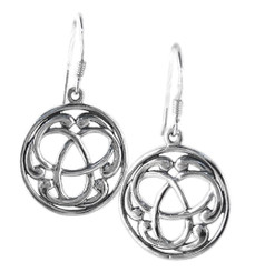 Sterling Silver Celtic Knot Round Earrings
