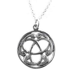 "Sterling Silver Round Celtic Design Necklace, 16"""
