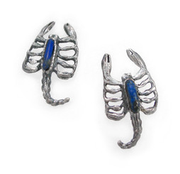 Sterling Silver Scorpion Stone Inlay Stud Post Earrings, Lapis