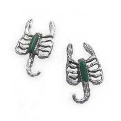 Sterling Silver Scorpion Stone Inlay Stud Post Earrings, Malachite