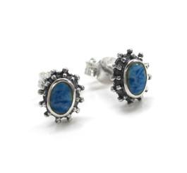 "Sterling Silver Stone Inlay ""Josie"" Oval Stud Post Earrings, Denim Lapis"