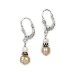 "Sterling Silver Cultured Freshwater Pearls Drop ""Chantal"" Leverback Earrings"