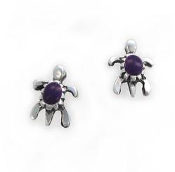 Sterling Silver Turtle Stone Inlay Stud Post Earrings, Sugalite