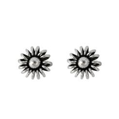 Sterling Silver Round Wire Loop Flower Stud Post Earrings, 9mm