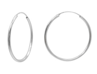 Sterling Silver Endless Round Tube 2mm Thick Hoop Earrings, 40mm