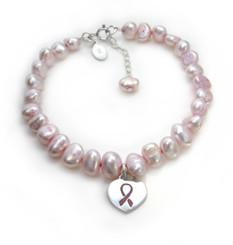 "Sterling Silver Pink Ribbon Heart Charm Cultured Pearl Bracelet, Adjustable 7.5"" - 8.5"""