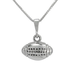 Sterling Silver Football Pendant Necklace