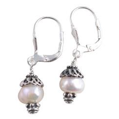 "Sterling Silver ""Laura"" Cultured Freshwater Pearls Leverback Drop Earrings"