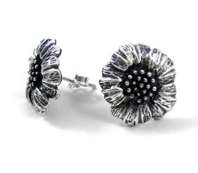 Sterling Silver Poppy Petal Flower Stud Post Earrings