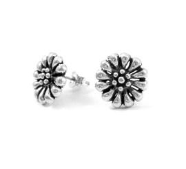 Sterling Silver Daisy Flower Post Earrings