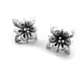 Sterling Silver Two Tier Petal Flower Post Earrings