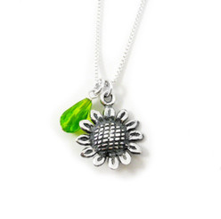 Sterling Silver Sunflower Crystal Charm Necklace