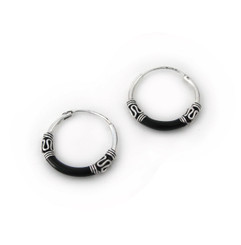 Sterling Silver Bali Design Color Coated 16mm Hoop Earrings, Black
