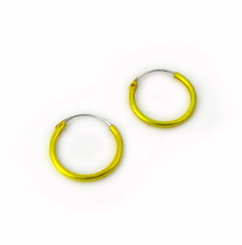 Sterling Silver Color Coated 14mm Hoop Earrings, Yellow