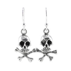 "Sterling Silver ""Jolly Roger"" Skull & Crossbones Earrings"