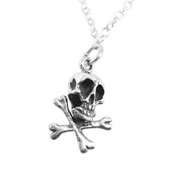 "Sterling Silver ""Jolly Roger"" Skull & Crossbones Necklace"