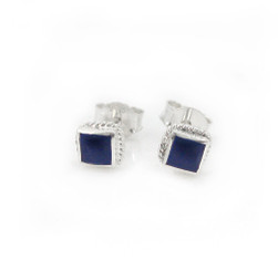 Sterling Silver Stone Inlay Square Stud Twist Rope Post Earrings, Lapis Lazuli 4mm