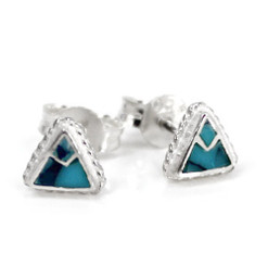 """Sterling Silver Stone Inlay Triangle Everyday """"Mara"""" Stud Post Earrings, Turquoise"""