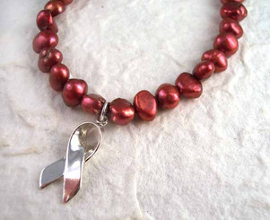 Sterling Silver Ribbon Red Pearl Breast Cancer Awareness Charm Bracelet