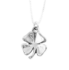 Lucky Four Leaf Clover Sterling Silver Necklace