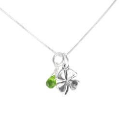 Sterling Silver Four Leaf Clover and Green Crystal Necklace