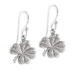 Lucky Four Leaf Textued Clover Sterling Silver Earrings