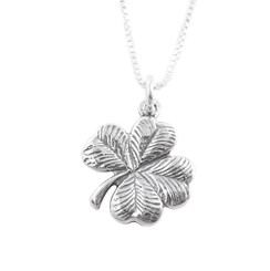 Lucky Four Leaf Textured Clover Sterling Silver Necklace