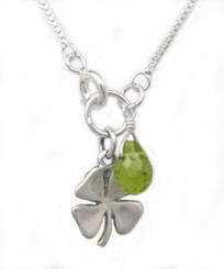 """Sterling Silver Four Leaf Clover and Peridot """"Irish Luck"""" Necklace"""