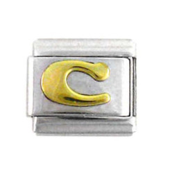 Italian Link Initial Charm, Letter C