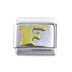 Italian Link Initial Charm, Letter F