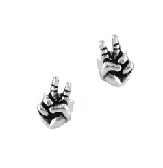 "Sterling Silver ""Peace Out"" Post Stud Earrings"