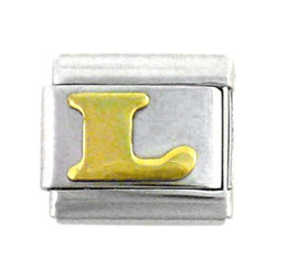 Italian Link Initial Charm, Letter L