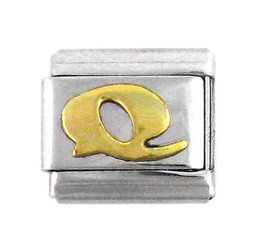 Italian Link Initial Charm, Letter Q