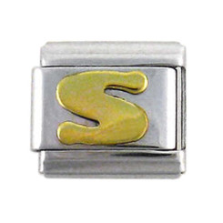 Italian Link Initial Charm, Letter S