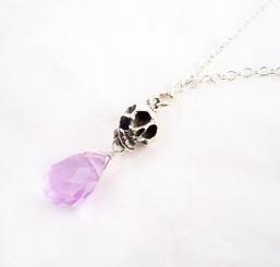 "Sterling Silver ""Jolly Jane"" Skull & Crystal Necklace, Alexandrite"